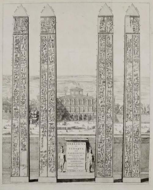 The obelisk of Veranus, Rome. Engraving from Joannes Blaeu (1633). The Obelisk of Antinous