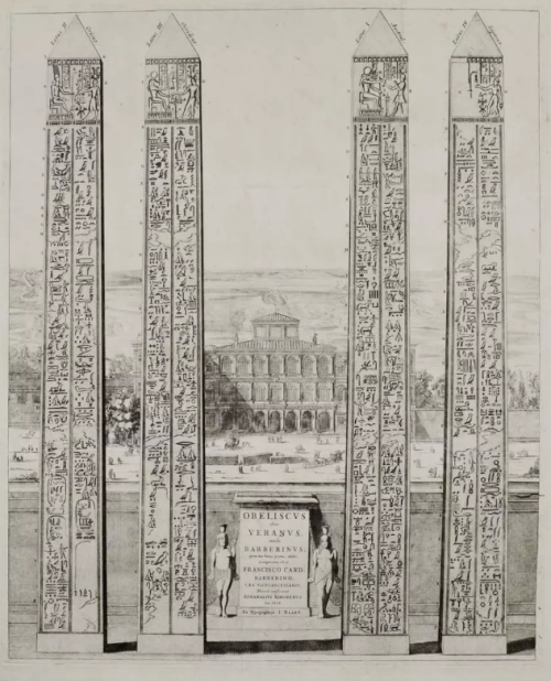 The obelisk of Veranus, Rome. Engraving from Joannes Blaeu (1633). The Obelisk of Antinous