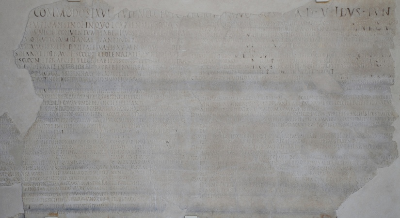 The inscription of the collegium of Diana and Antinous in Lanuvium, 136 AD.