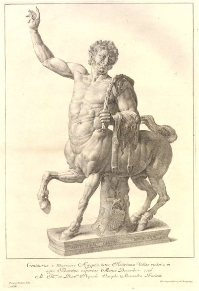 The Young Centaur from Hadrians Villa facing left. 1739 Engraving. © The Trustees of the British Museum