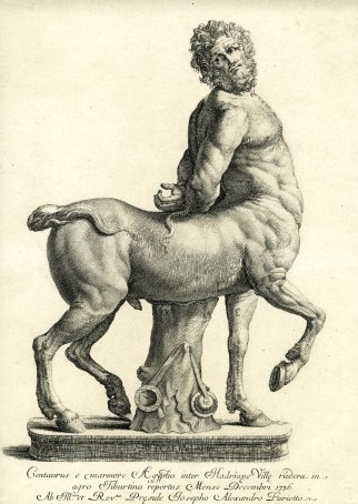The Old Centaur from Hadrians Villa facing right; 1738 Engraving. © The Trustees of the British Museum