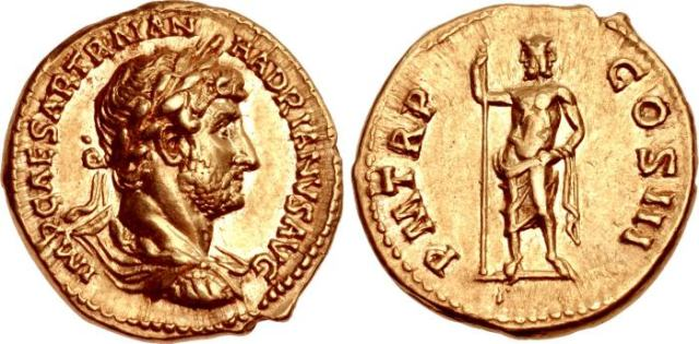 Hadrian. AD 117-138. AV Aureus (18mm, 7.29 g, 6h). Rome. IMP CAESAR TRAIAN HADRIANVS AVG, laureate, draped, and cuirassed bust right / P M TR P COS III, Janus, standing facing, naked to waist, fold of drapery over left arm, holding sceptre in right hand. RIC II 62; Strack 91; Calicó 1311a (this coin, illustrated); BMCRE 100.