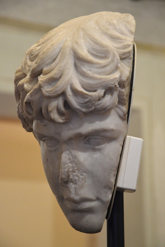 View of Chicago fragment of portrait head of Antinous at the Altemps exhibition.