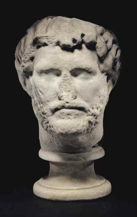 A COLOSSAL ROMAN MARBLE PORTRAIT HEAD OF THE EMPEROR HADRIAN Christie's - 25 October 2016, New York, Rockefeller Center http://www.christies.com/lotfinder/Ancient-Art-Antiquities/a-colossal-roman-marble-portrait-head-of-6029338-details.aspx?lid=1