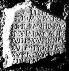 Fragmentary inscription (CIL VI 5076) found in Rome registering the names of the stations along the route from Mopsucrene to Andabalis in Western Asia Minor.