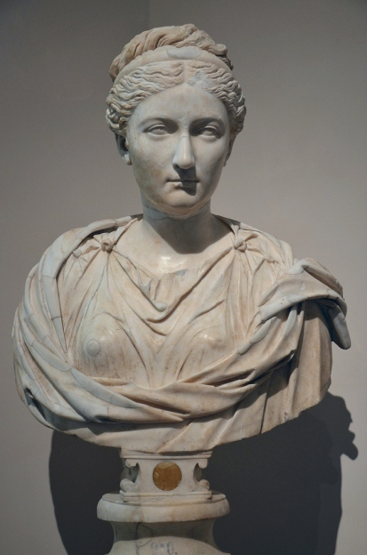 Idealised and rejuvenated portrait of empress Sabina (wife of Hadrian) with hairstyle inspired by the imagery of the goddess Diana, c. 130 AD, Museo del Prado, Madrid