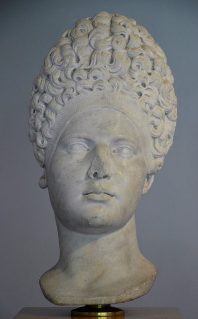 Marble head of Vibia Sabina with a Flavian hairstyle, 2nd century AD, Museo archeologico di Fiesole, Italy