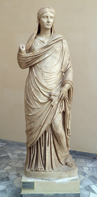 Sabina as Ceres, Parian marble, from the Palaestra of the Baths of Neptune, 2nd century AD, Ostia Antica, Italy