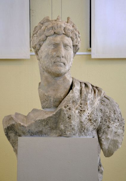 Upper part of a larger than life statue of Hadrian found in the harbour of Piraeus, Archaeological Museum of Piraeus, Greece.