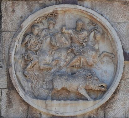 Hadrianic roundel (tondo) on the Arch of Constantine depicting a boar hunt.