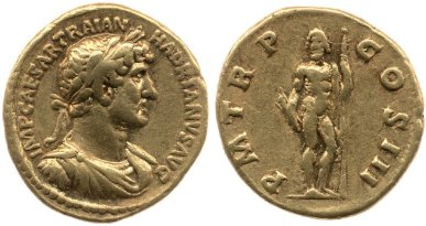 Gold coin of Hadrian with the image of Jupiter standing and holding thunderbolt and sceptre on the reverse. 119-122 AD. © The Trustees of the British Museum