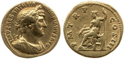 Gold coin of Hadrian with the image of Jupiter seated and holding thunderbolt and sceptre on the reverse. 119-122 AD. © The Trustees of the British Museum