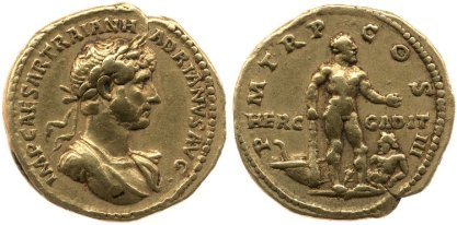 Gold coin of Hadrian with the image of Hercules of Gades on the reverse. 119-122 AD. © The Trustees of the British Museum