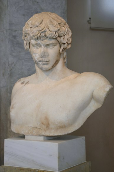 Naked bust with head of Antinous, found in Patras in 1856, after 130 AD, in storage at the National Archaeological Museum of Athens