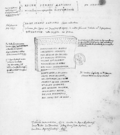 Inscription CIL, XII, 1122 = ILN - Apt, 33 (dessin de Peiresc, ms. 8957, f. 191, Bibliothèque Nationale, Paris)