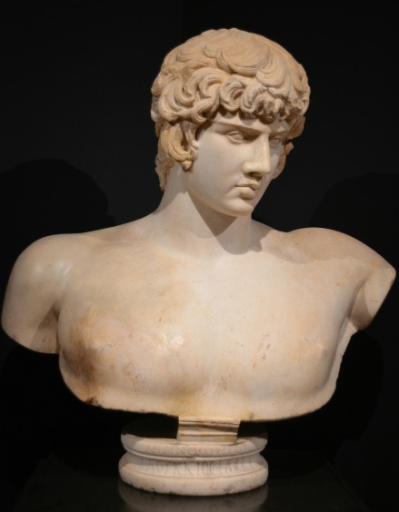 Bust of Antinous, from Syria, after AD 130. This is the only portrait of Antinous that carries an inscription: To Hero Antinous M. Loukkios Phlakkos